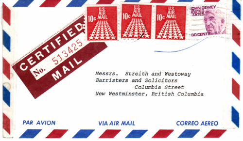 US air mail certified - old stamped envelope