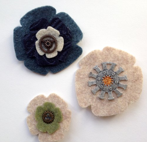 felt flower brooches